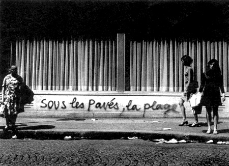 Photograph presumably – but not necessarily – taken in Paris in May 1968. Original source not known.
