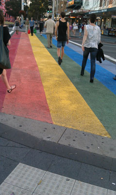 Rainbow crossing, Taylor Square, Sydney, March 2013