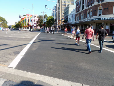 Rainbow crossing at Taylor Square replaced by grey asphalt, April 2013
