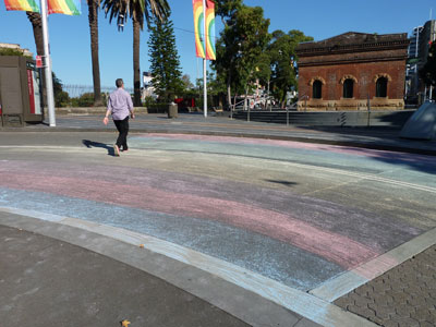 DIY rainbow crossing, Forbes Street, just a few metres from Taylor Square, 14 April 2013