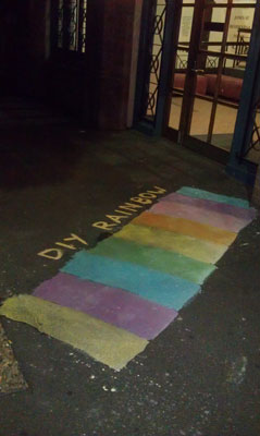 A painted DIY Rainbow Crossing in Jones Street, Ultimo (Sydney), April 2013 (photo by meganix).