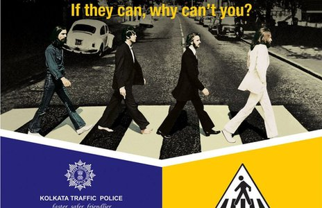 Road safety poster using Ian Macmillan's famous 1969 photograph, issued by the Kolkata [Calcutta] Traffic Police in February 2013.