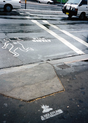 Pedestrian and Junglepunks stencils, Broadway (Sydney), 1999