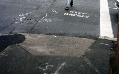 Pedestrian in trench, Newtown, 1999