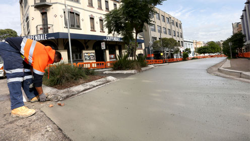 Pale pavement, Chippendale, 2014. Image from City of Sydney website.
